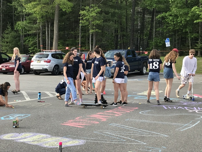 Seniors decorating the parking lot