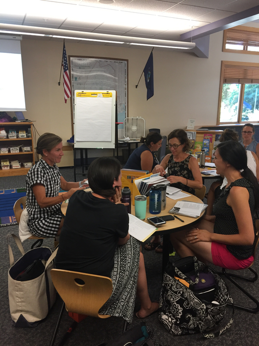 Teachers engaged in small group discussion.