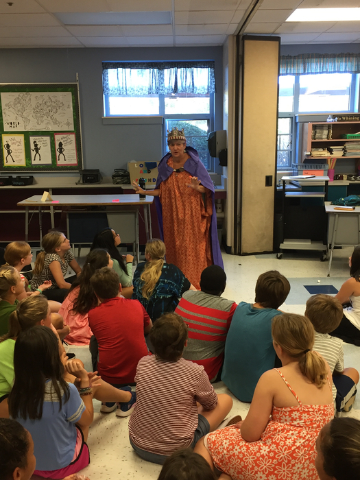 The Queen of Recess Rules talks to 6th graders today.