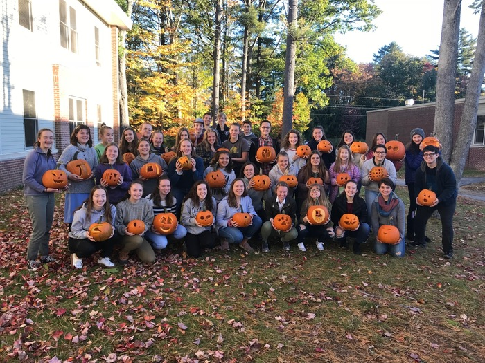 YHS Interact Club with the pumpkins they carved for the Camp Sunshine/LL Bean pumpkin festival.