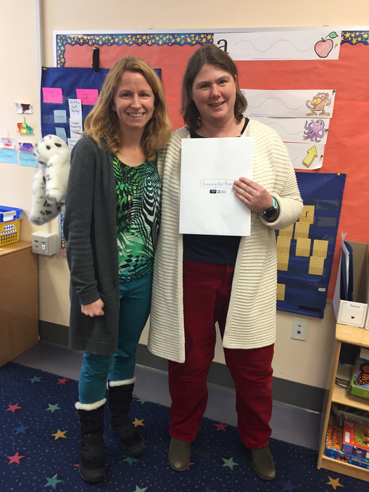 Kindergarten grant writers Mrs. Lemay and Mrs. Bradford