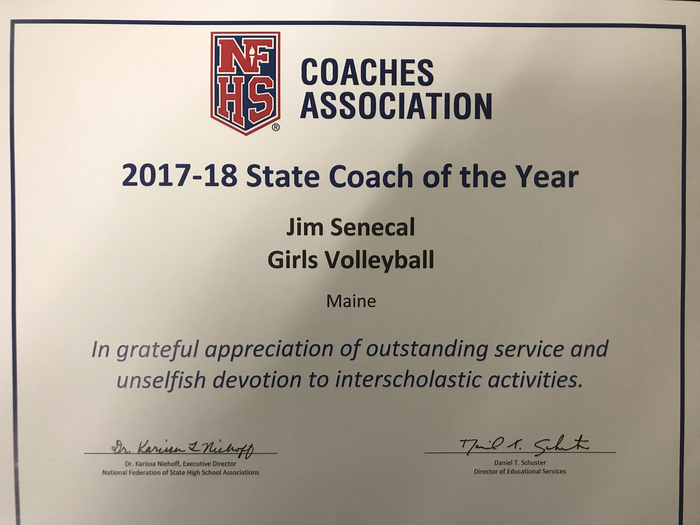State of Maine NFHS Coach of the Year!