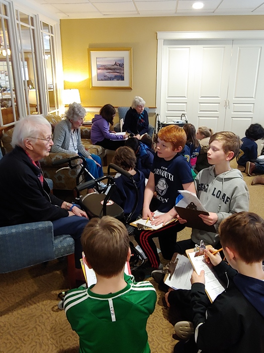 5th graders visit seniors at Baysquare