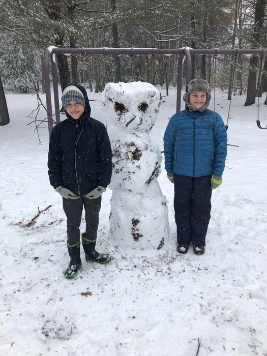 Max and Henry and their April snowman