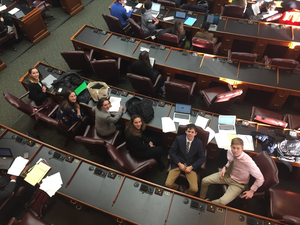 On the House floor at the beginning of a long day: Maddy Corson, Georgia Herr, Mary Psyhogeos, Kate Siegel, Joshua Leinwand, and Sam O'Donnell -- the six who represented Yarmouth at this competitive event.