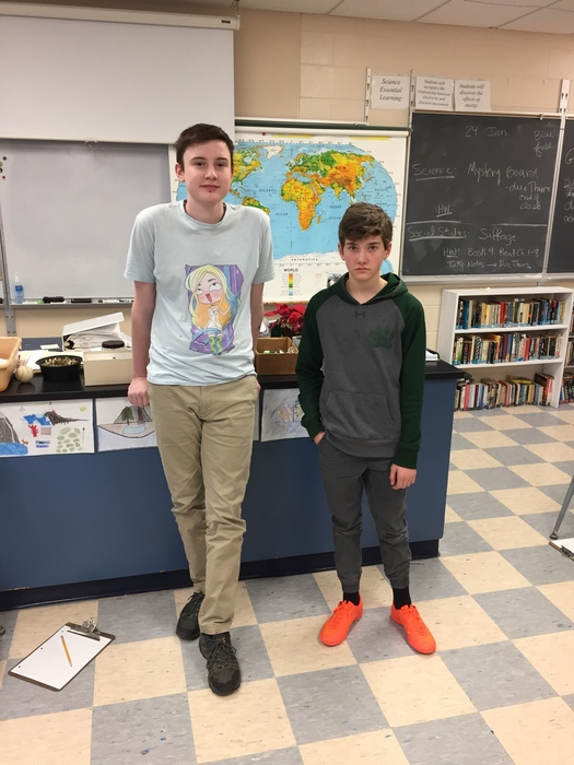 Steven Densmore, our Geography Bee winner, and James McConville, runner-up.