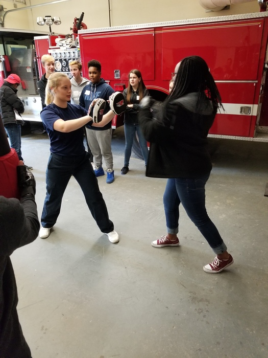 Sparring with students in the Criminal Justice program at WRVC