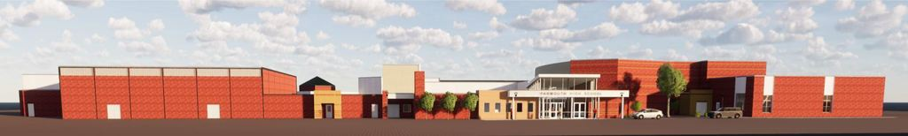 Rendering of new main entrance at YHS