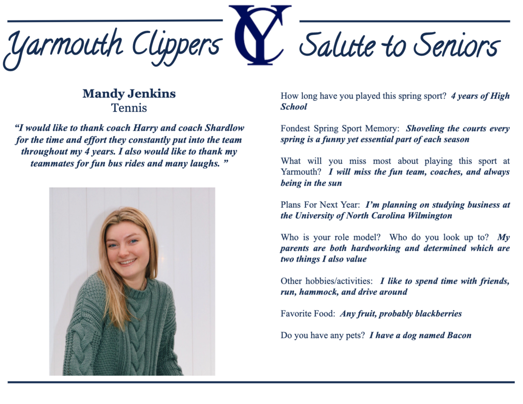 Mandy Jenkins Salute to Seniors Profile