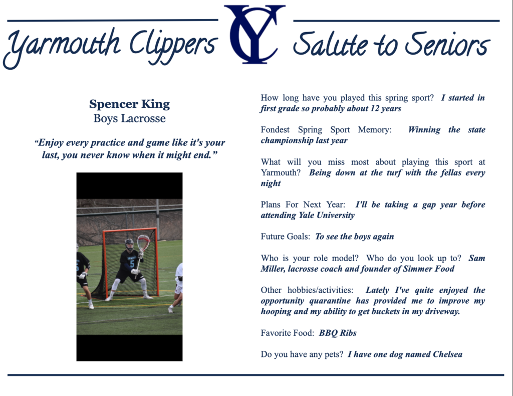 Spencer King Salute to Seniors Profile