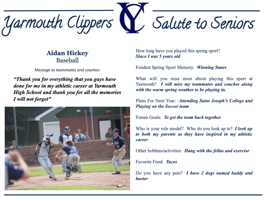 Aidan Hickey Salute to Seniors Profile