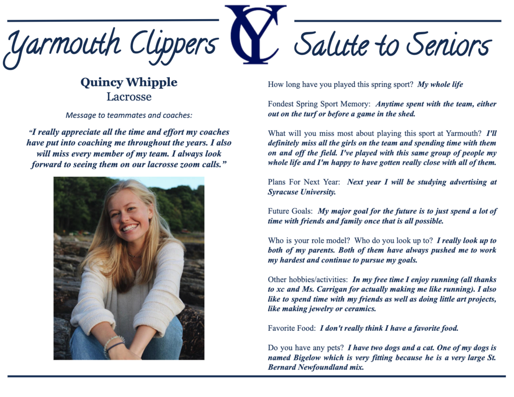 Quincy Whipple Salute to Seniors Profile