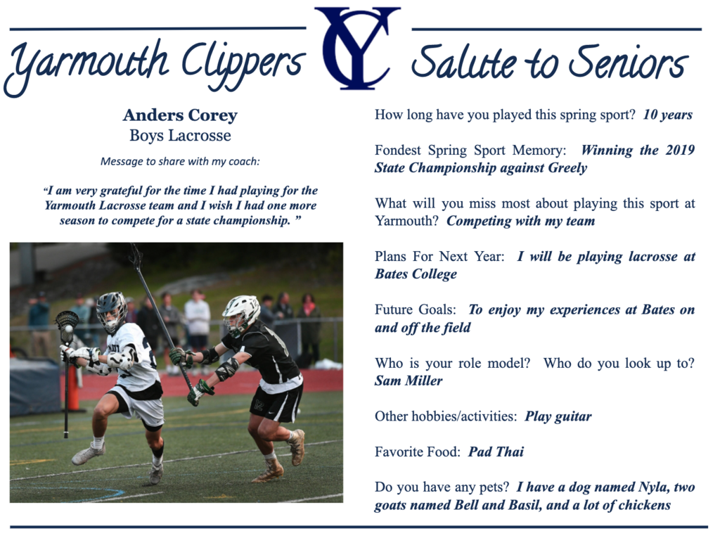 Anders Corey Salute to Seniors Profile
