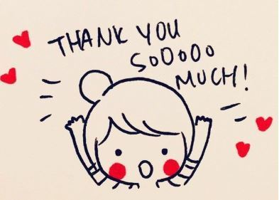 Cartoon character saying Thank You