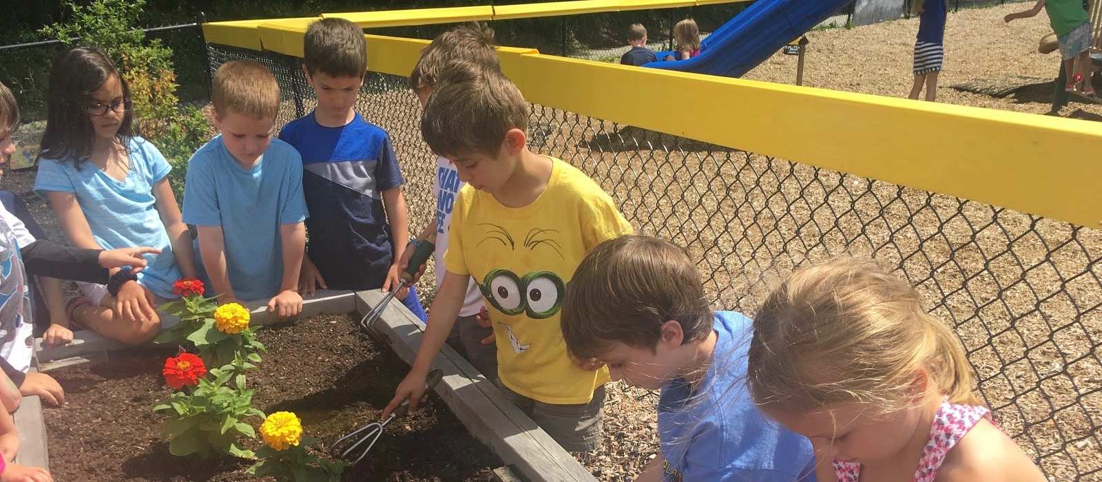 Rowe students plant spring flowers.
