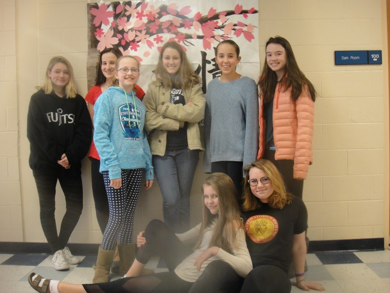 Pictured are Brynn Thurber, Georgia Herr, Sarah Dresell, Milena Laputz, Maddy  Corson, Alexa Hankins, Ruby Hewitt, and Ari Rustad.  Not pictured: Fiona Brown, Amelia Marjerison, Callie Meehan